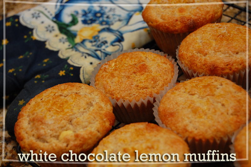 white chocolate lemon muffins